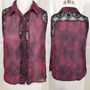 Lucca Couture Sheer Chiffon Lace Animal Print Top